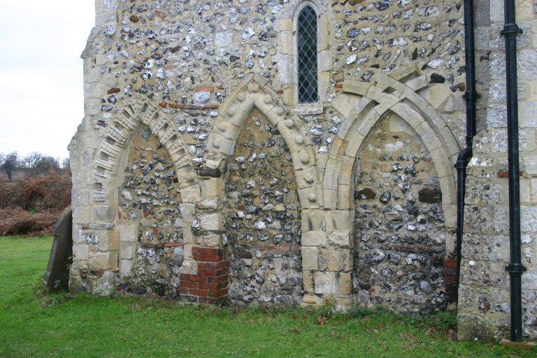 Arcading on the church