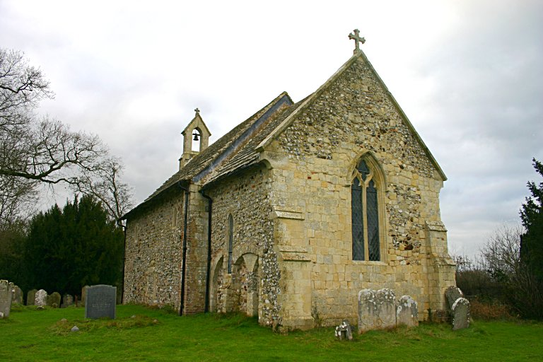 The back of the church. Note the unusual arcading