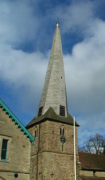 The church's twisted spire