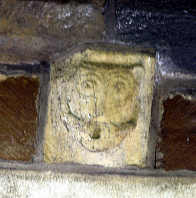Ambiguous possibly female exhibitionist corbel