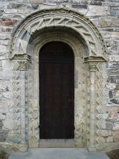 The Romanesque door at the church.